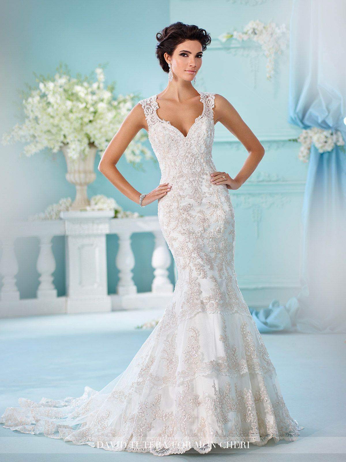 Keyhole Back Satin Fit & Flare with Lace Wedding Dress- 216246 ...