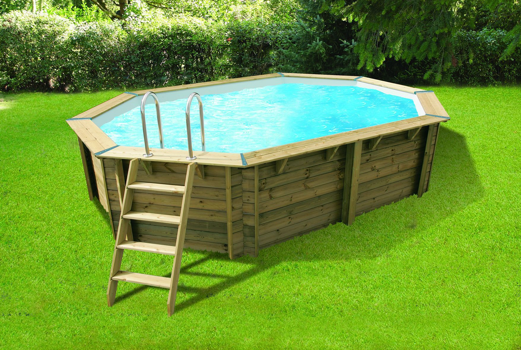 piscine bois azura ubbink allongee en