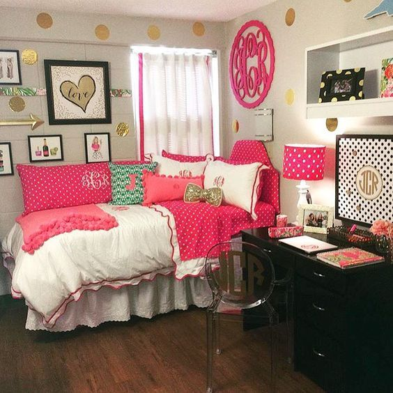 Anchored In The South Blog Fashion Lifestyle Travel College Dorm Room Tour Pink Gold Navy Cute Monogram Souther Dorm Room Decor Girls Dorm Room Dorm Sweet Dorm