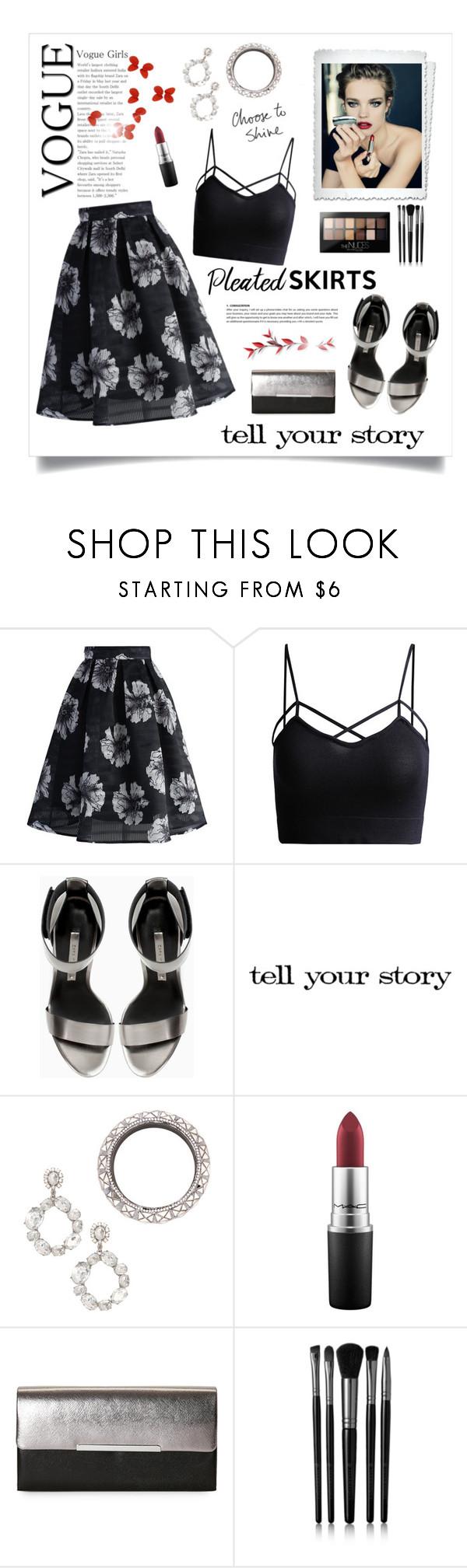 """Pleated Skirt!"" by diane1234 ❤ liked on Polyvore featuring Chicwish, Guerlain, Zara, JustFab, MAC Cosmetics, La Regale, Illamasqua and Maybelline"