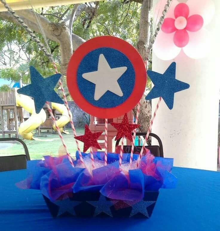 Centro De Mesa Capitán América: Cumpleaños Súper Héroes