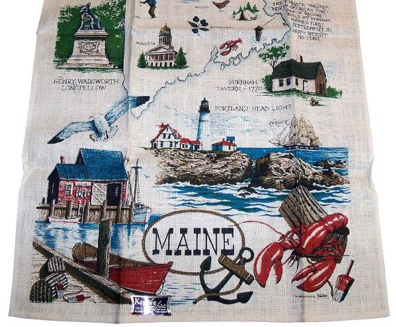 Vintage 1970s Maine Sovenir Tea Towel Novelty Print by PinkyAGoGo