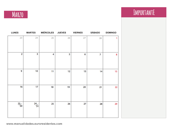 Calendario Marzo 2015. Calendarios mensuales 2015 para imprimir ...