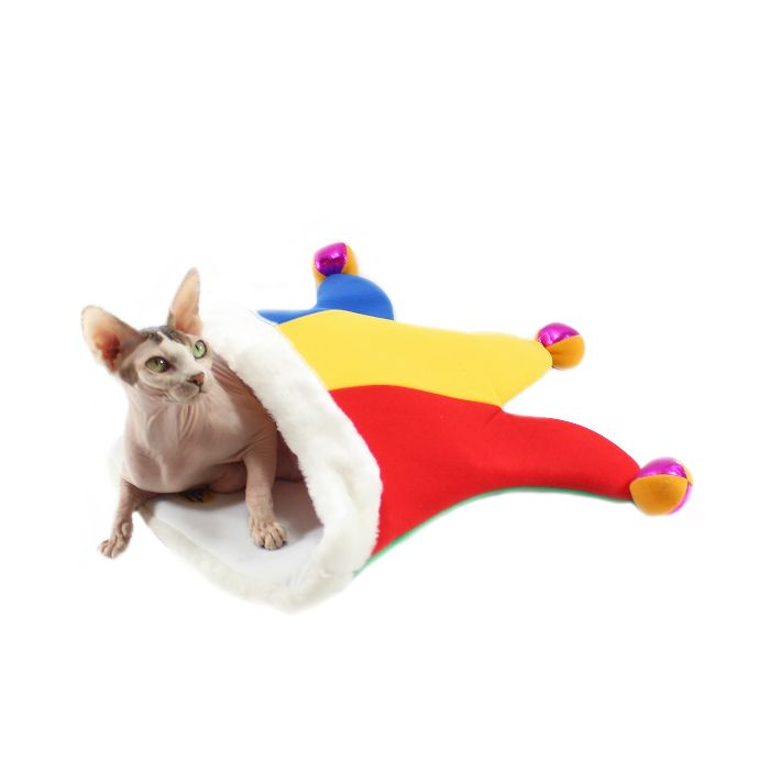 12f0453293d Jester Hat Crinkle Bag Fun Multi-colored large cat crinkle bag toy. Great  crinkle sound when cat plays in it. Has internal safety bell.