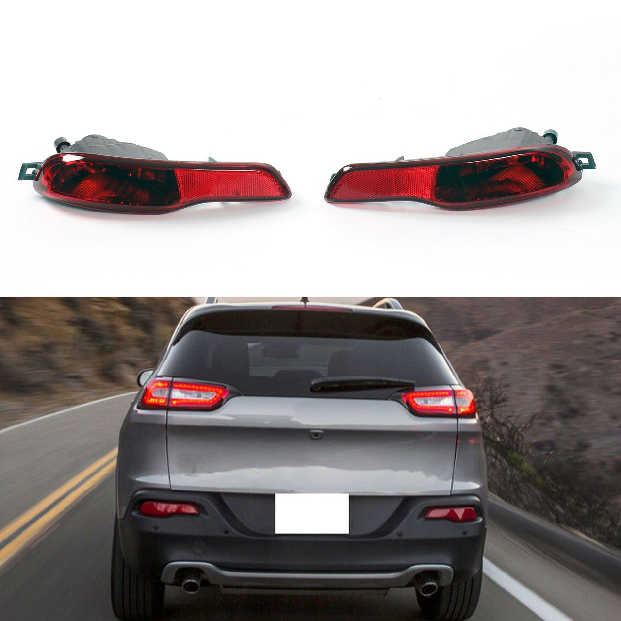 Pair Red Lens Rear Bumper Reflector Fog Brake Light Cherokee 2014 2016 Jeep Cherokee 2014 Jeep Cherokee Jeep Cherokee Parts