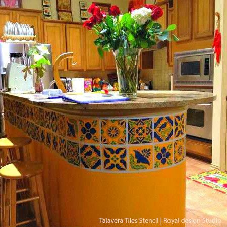 Talavera tiles wall furniture stencils for Mexican kitchen designs photos