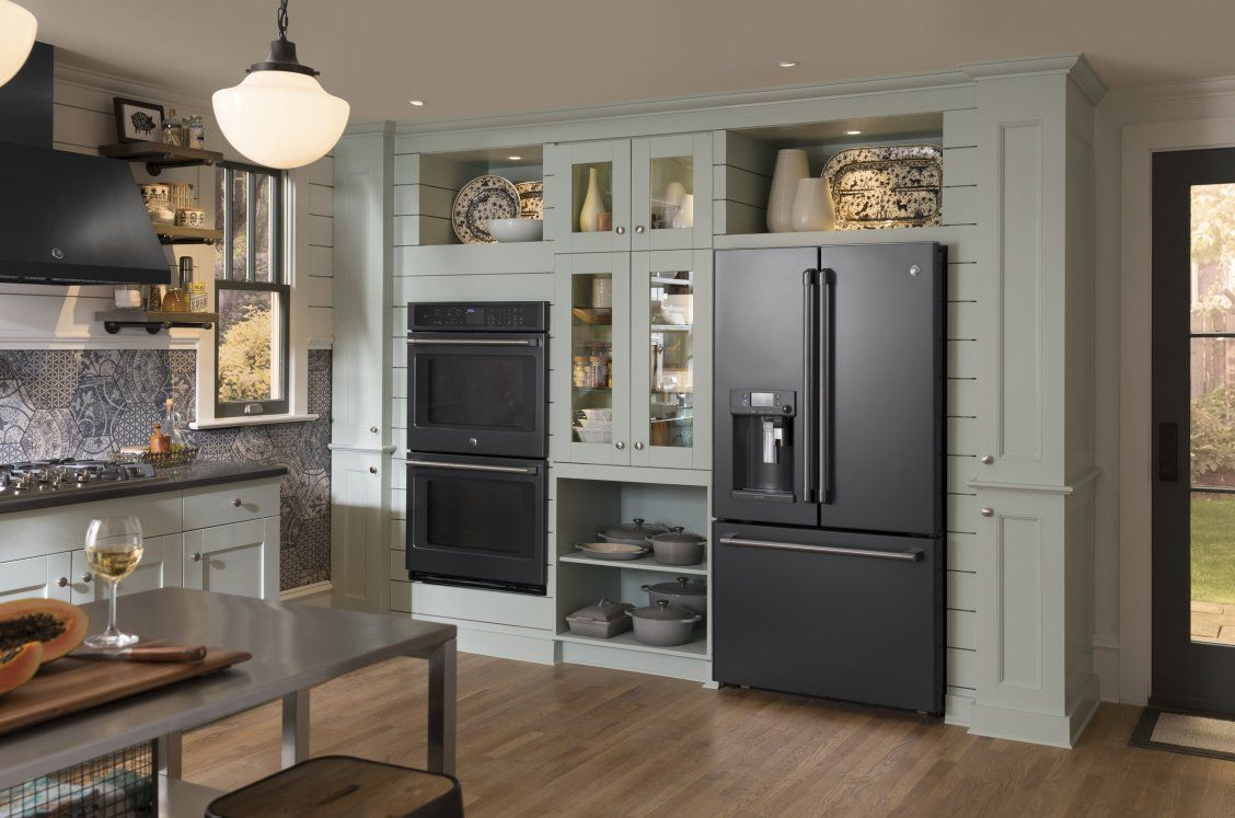 The Deep Charcoal Color Of Our Black Slate Appliances Perfectly Complements The Stain Slate Appliances Slate Appliances Kitchen Slate Appliances White Cabinets
