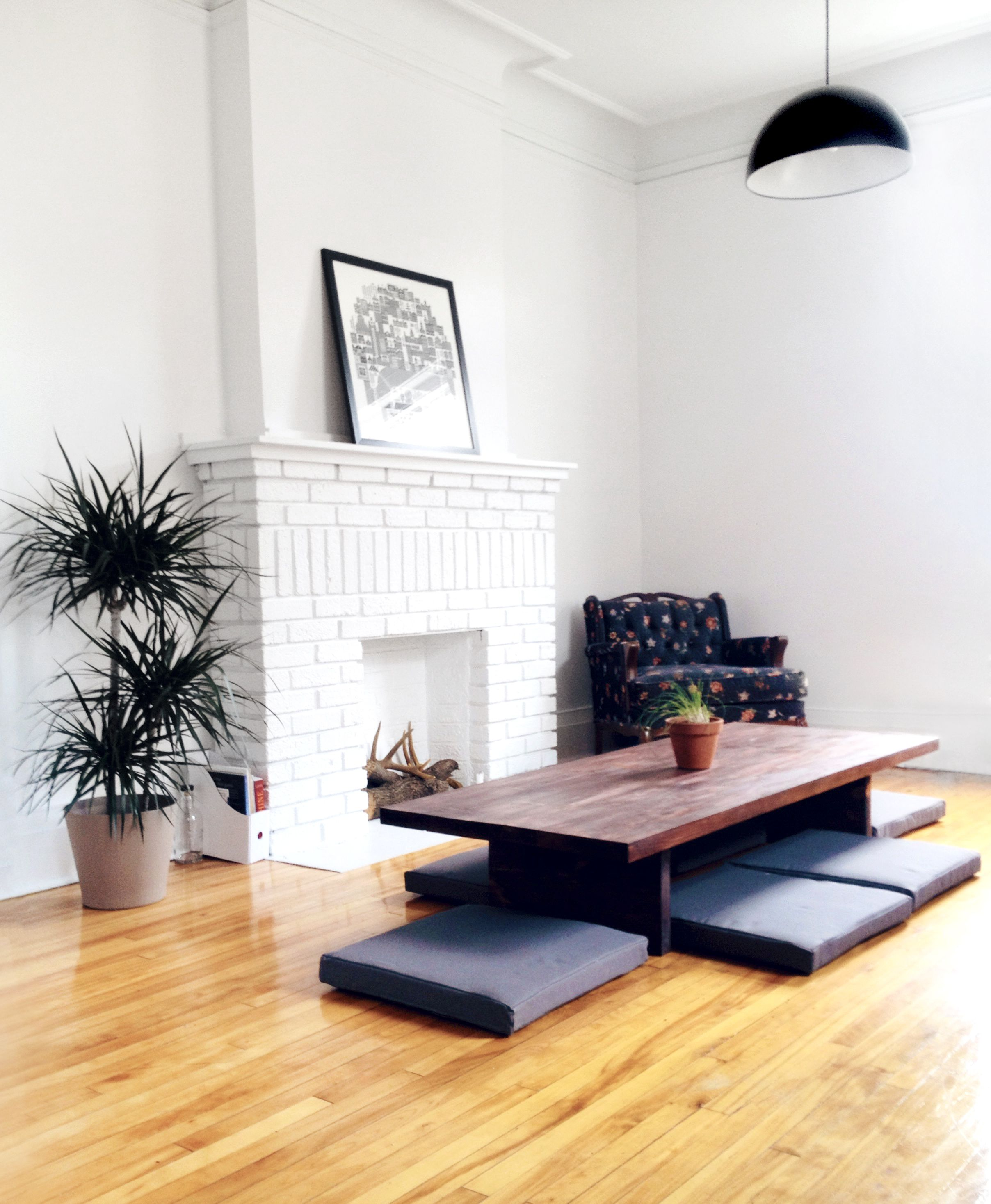 DIY low dining table and cushions, Japanese inspired.  ...