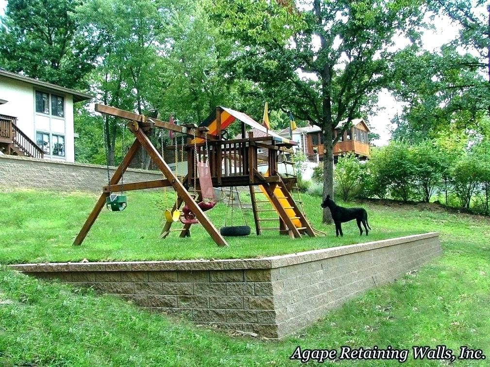 Leveling Out The Slope And Putting The Whole Playset On Top Is There Room To Do This In Our Yard Should We Use An Sloped Yard Sloped Backyard Backyard Design