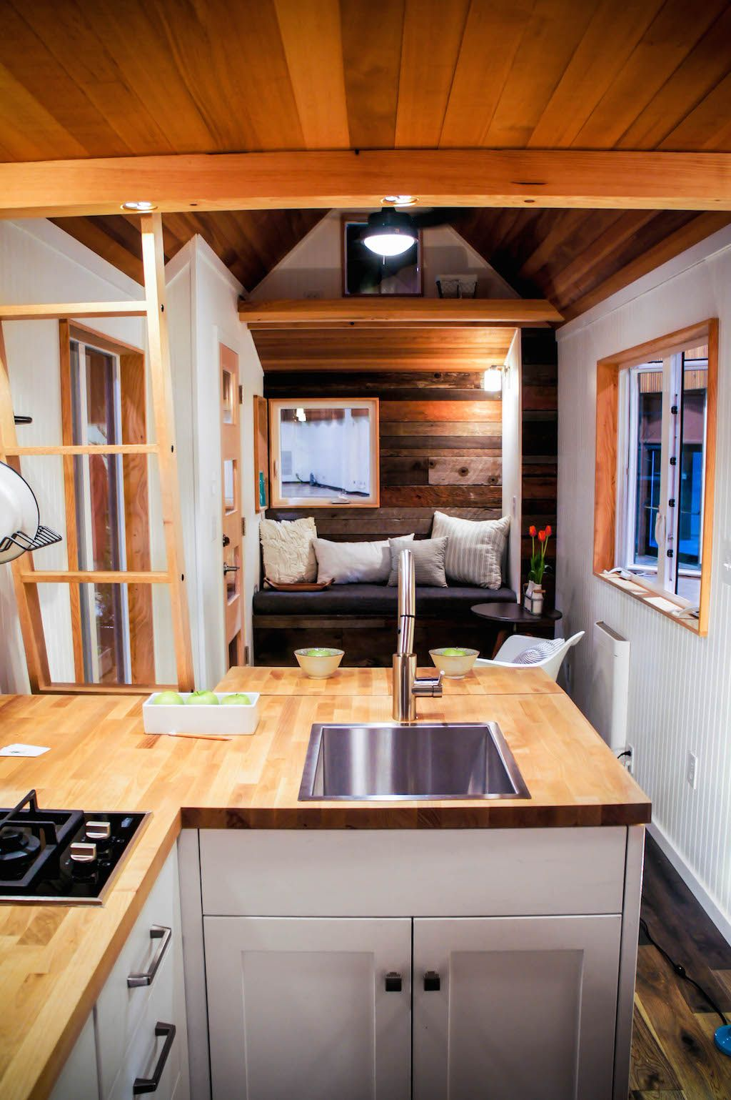 A custom 240 square feet tiny house on wheels in Eugene Oregon