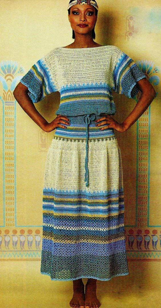 Lovely crocheted top and skirt set uses V-st and dc in multi-colored stripes to a beautiful and easy to wear fashion statement. Skirt has elasticized waist. Blouson T-shirt is loose fitting.  Sizes included in pattern are Small (8-10), Medium (12-14) and Large (16) Finished skirt length is 34. Instructions for changing length are included in pattern.  Sport weight yarn, 5 ply in 1 oz pull skeins in a main color and 6 contrast colors  Gauge: 9 dc = 2; 7 dc rows = 3; 9 sc = 2  PLEASE NOTE…