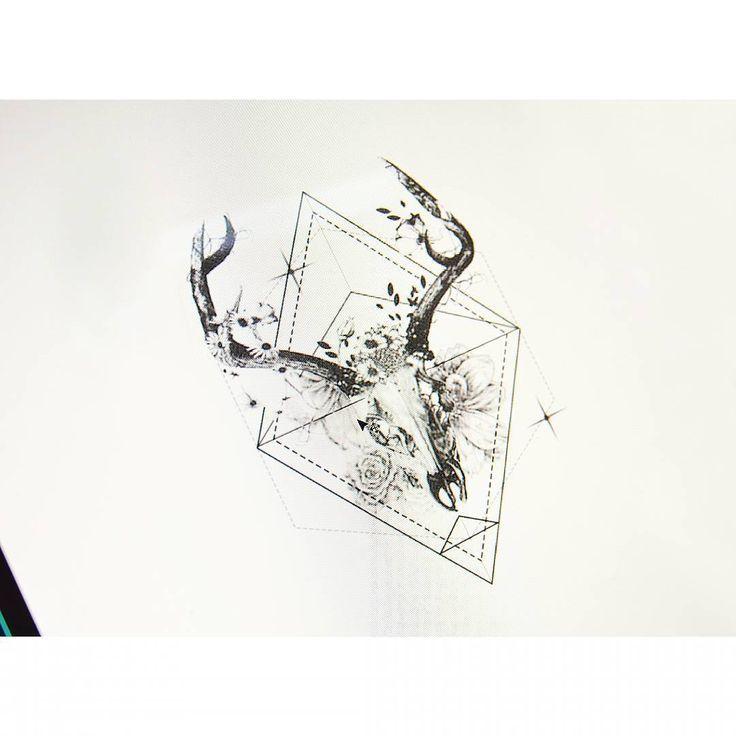 Deer Skull Geometry Tattooistbanul Tattoo Tattooing Design In 2020 Animal Skull Tattoos Deer Skull Tattoos Skull Tattoo Flowers