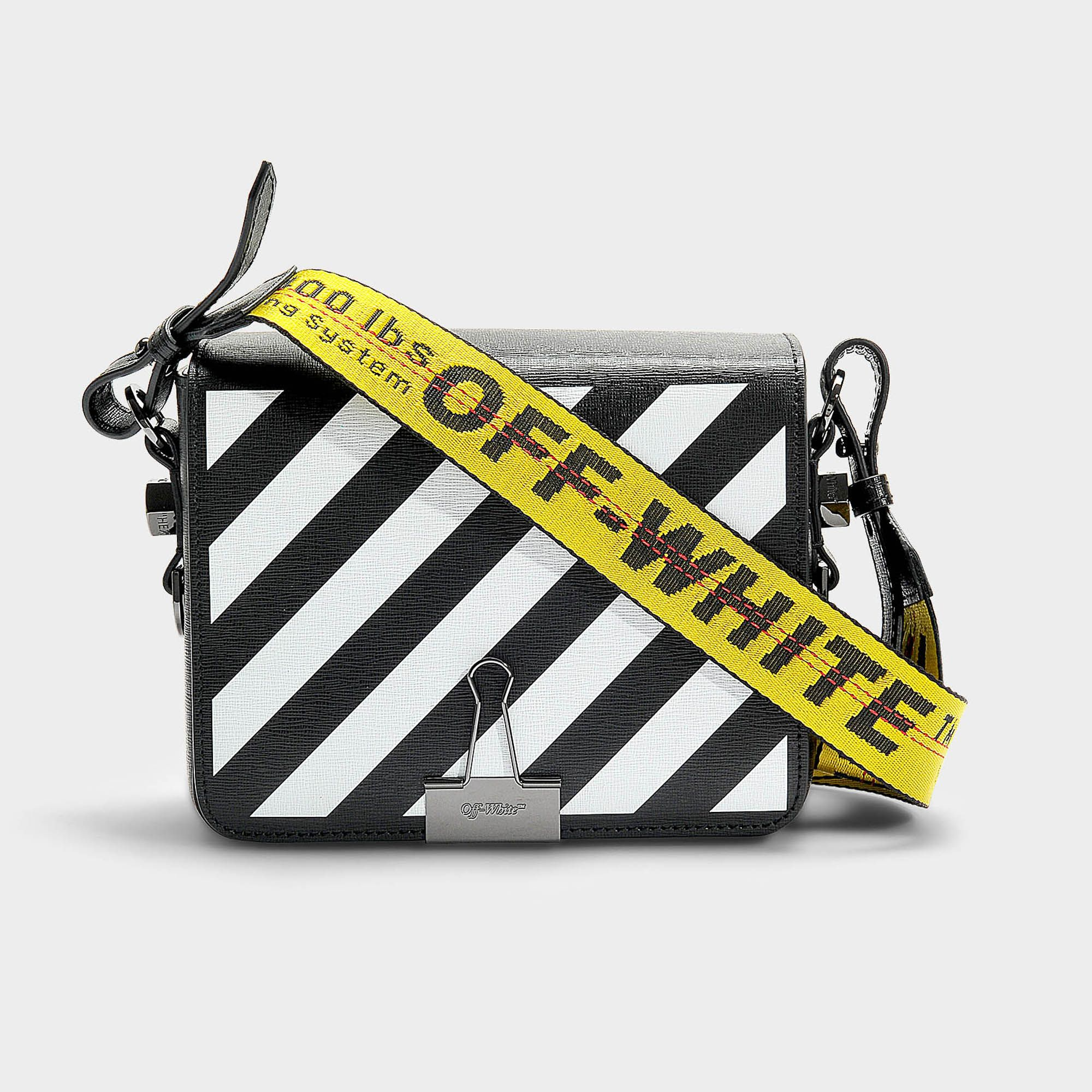ff50c5555f4 Off-White Black And White Diag Flap Bag In Black And White Calfskin ...
