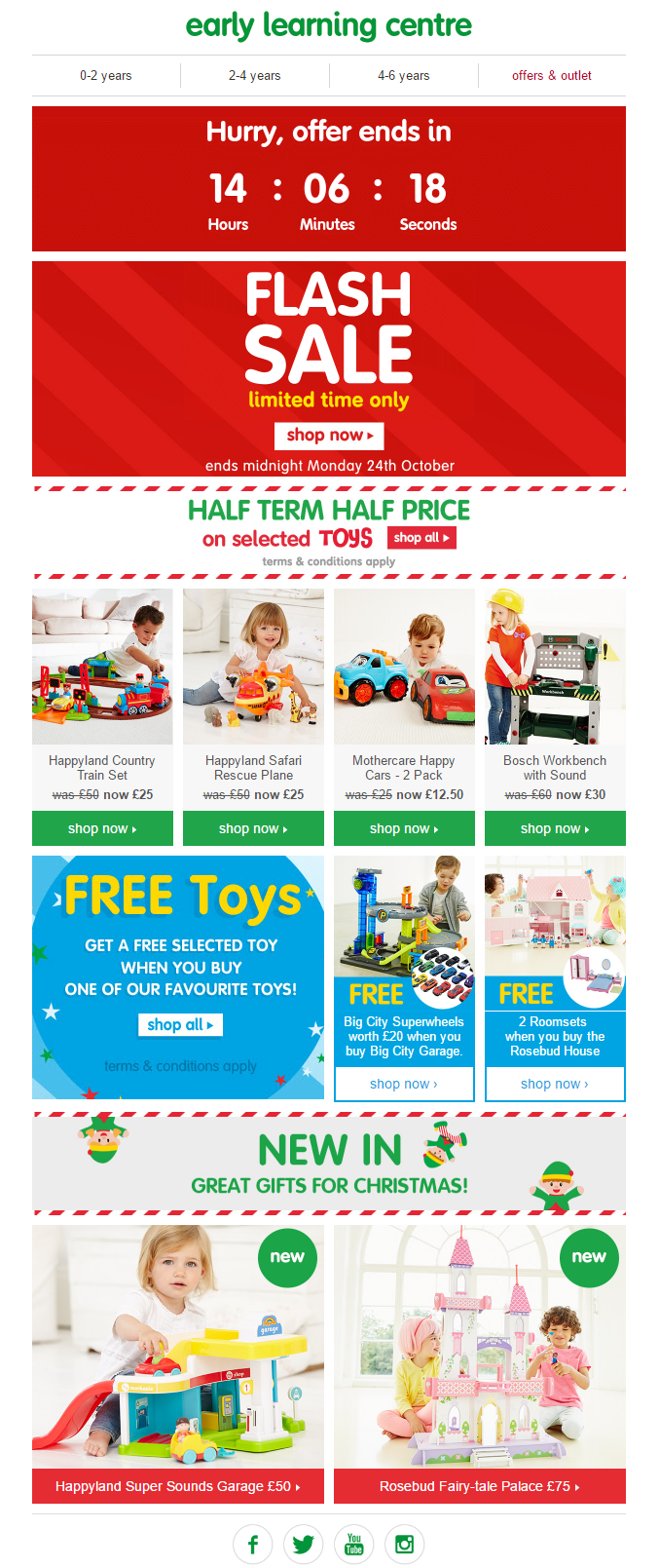 1d08f70e209 Email from early learning centre including countdown timer to end of offer