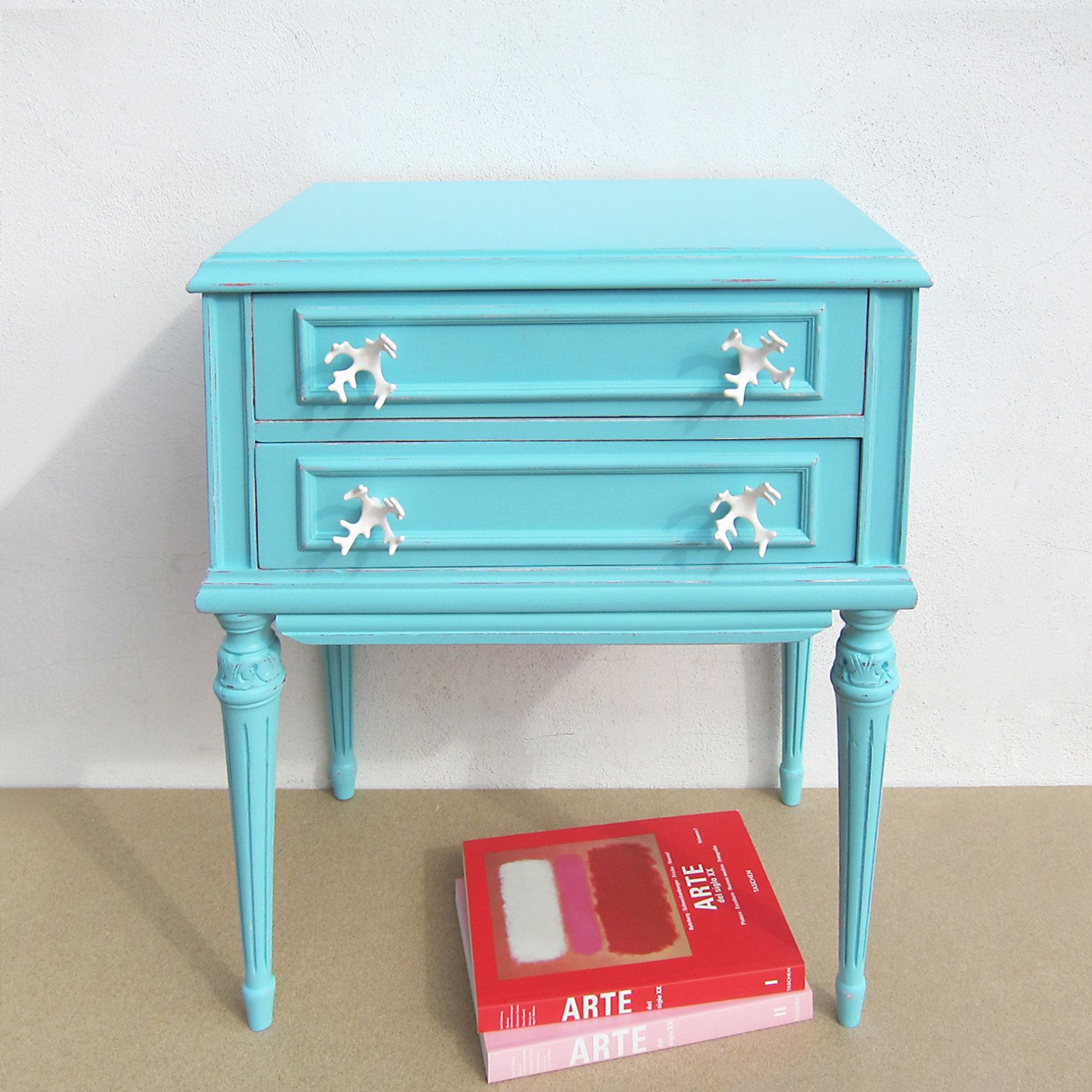 Restored Vintage Bedside Table Turquoise And By Mypetitvintage 180 00 Vintage Bedside Table Turquoise Bedside Table Vintage Side Table