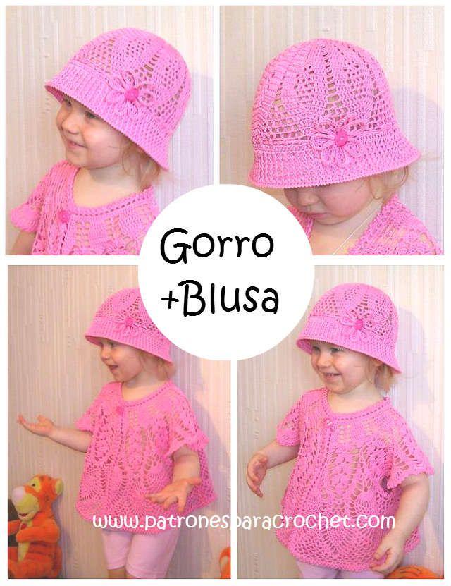diagramas crochet de sombrero panama y blusa de niña | Crochet y Dos ...