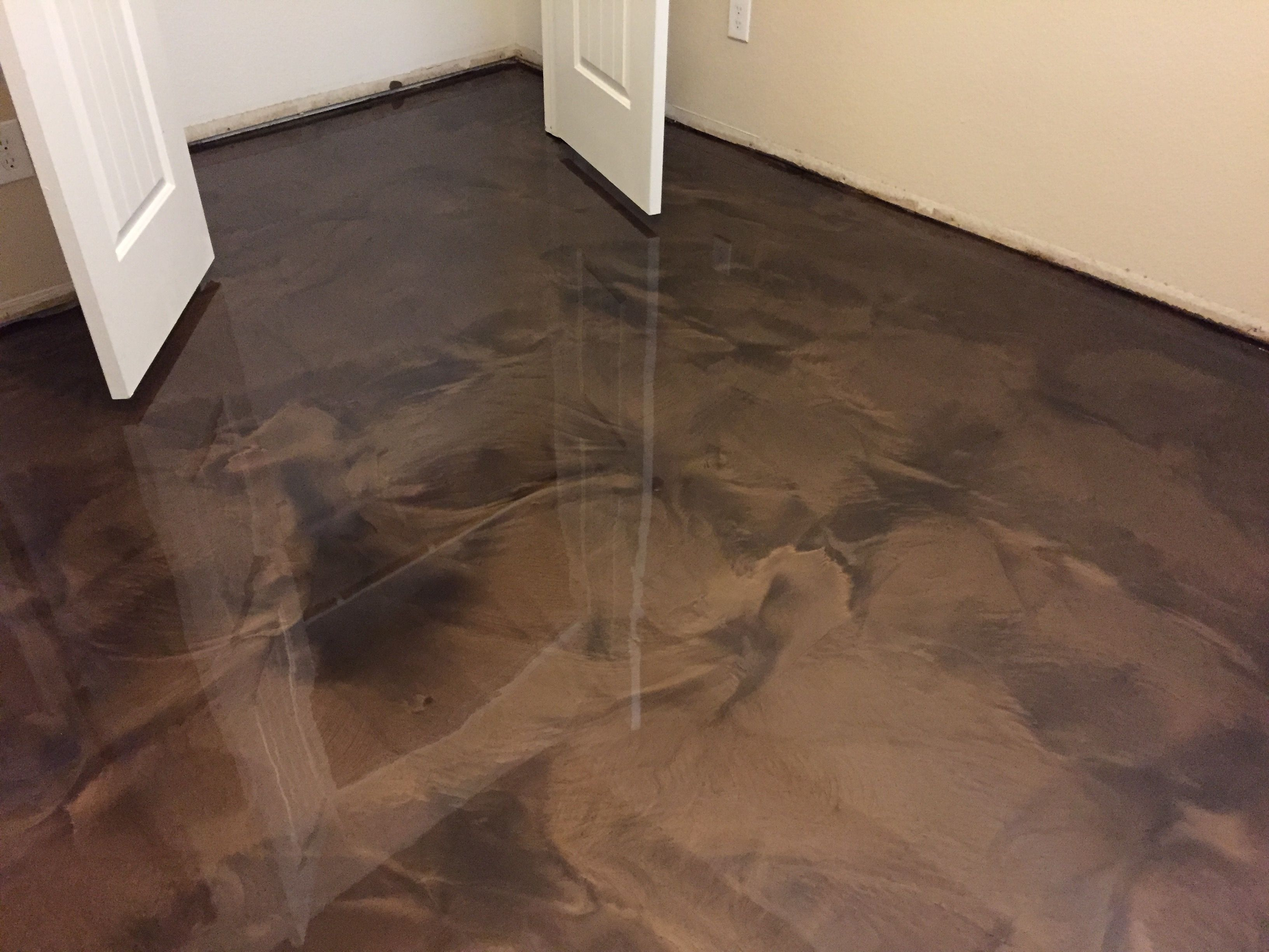 When Stained Concrete Isn T An Option Metallic Epoxy Is A Great Flooring