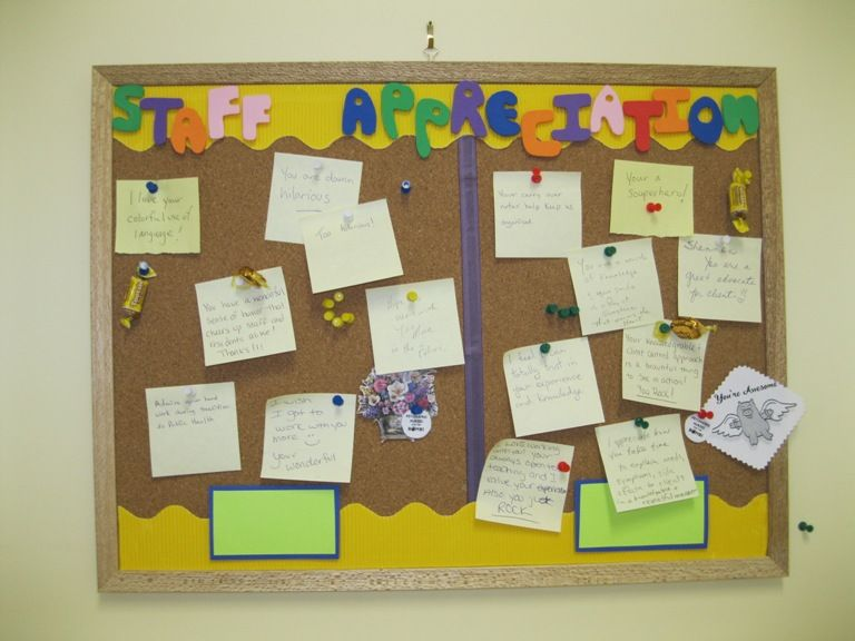 Create positivity in the workplace. Small bulletin board, front of ...