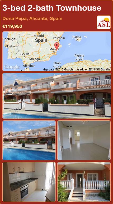 3-bed 2-bath Townhouse in Dona Pepa, Alicante, Spain ►€119,950 #PropertyForSaleInSpain