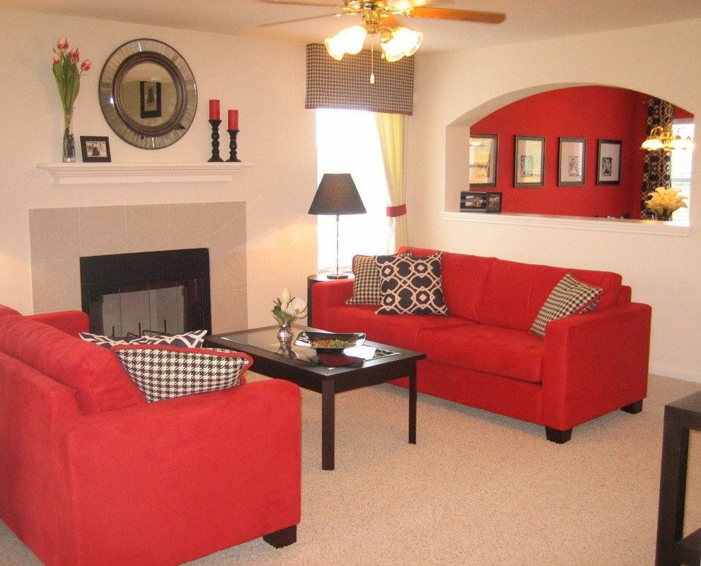 Living Room With Red Furniture Perfect Living Room Design With Two Fabric Red Sofa Living Room