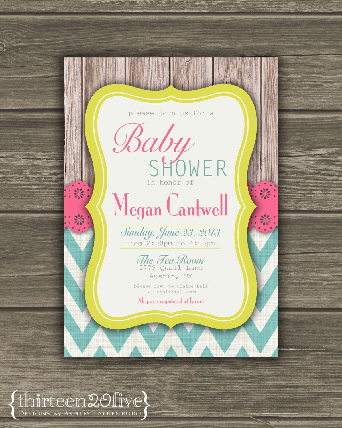 Chevron Baby Shower Invitation Pink Teal Yellow by Thirteen20Five, $10.00