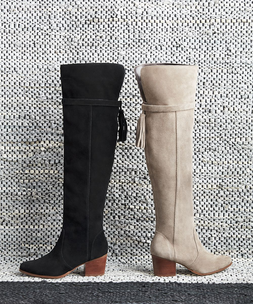 41273f10317 Suede over-the-knee tassel boots