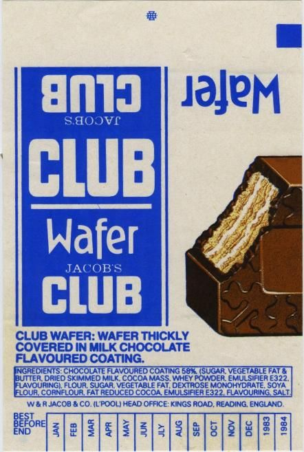 Jacobs Wafer Club Chocolate Bar Wrapper 1980s Chocolate