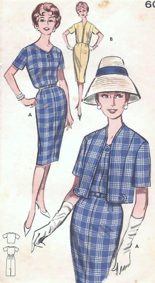 Vintage 1960s Dress Jacket Sewing Pattern B32 12 $6.72   Vintage ...