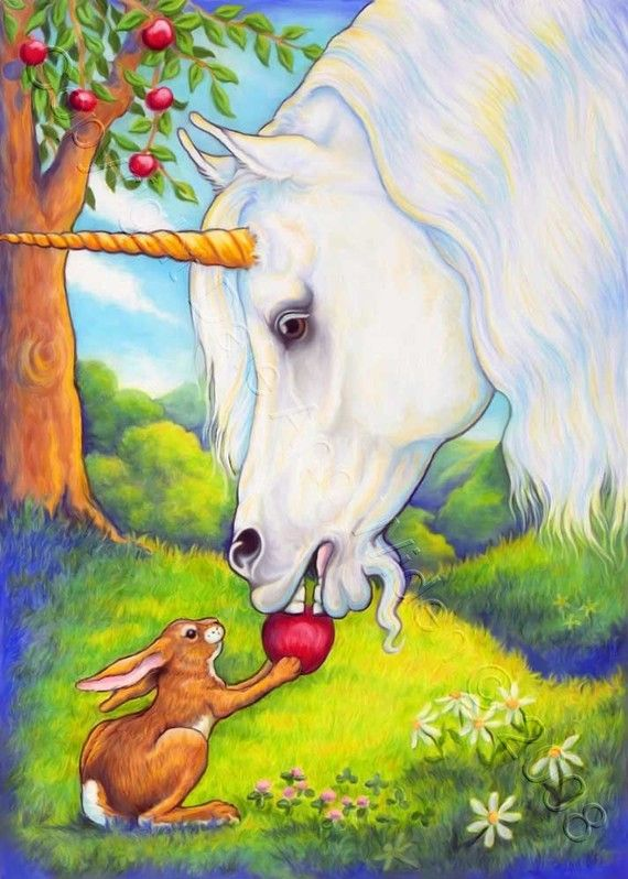 """""""THE FIRST APPLE"""". ~ The rabbit and the Unicorn have discovered the first fallen apple of the season. Soon there will be many more to share! ~ This is an open edition 5"""" x 7"""" print created from my original copyrighted Prismacolor pencil illustration. Artist ~ Dale Ann Widen"""