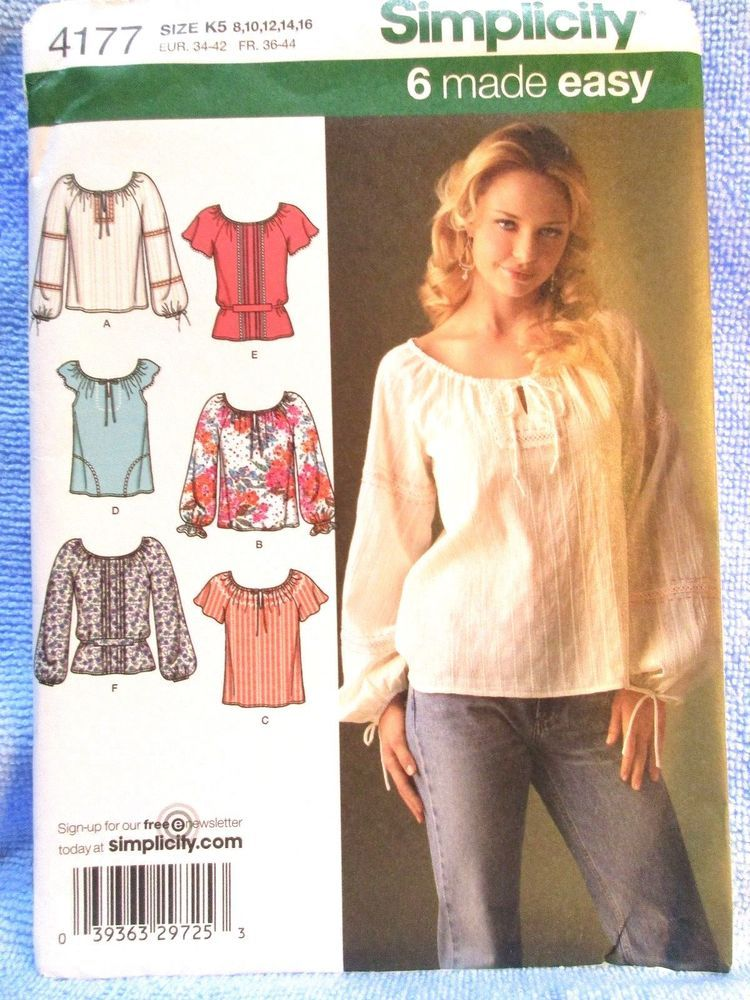 Simplicity Pattern 4177 Misses Top With Sleeve Trim Variations