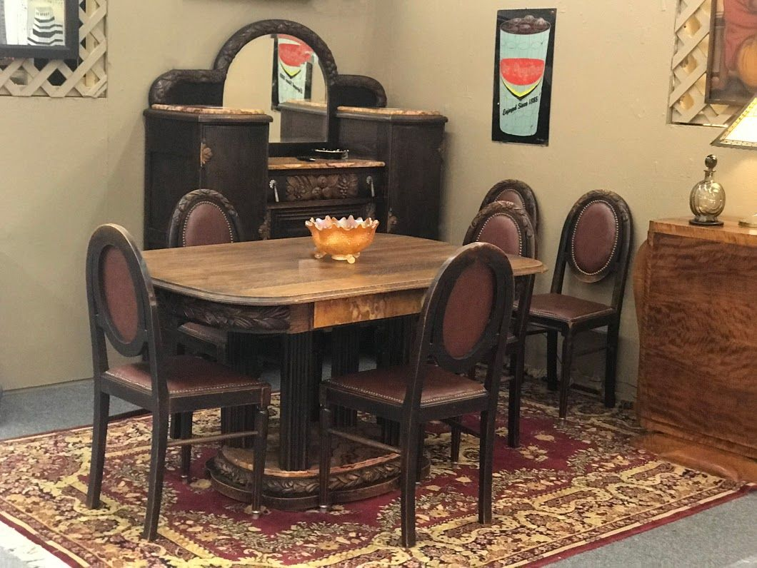 Delicieux Art Deco Dining Suite French Or Belgium 1 Table, 6 Chairs And Buffet Table  54
