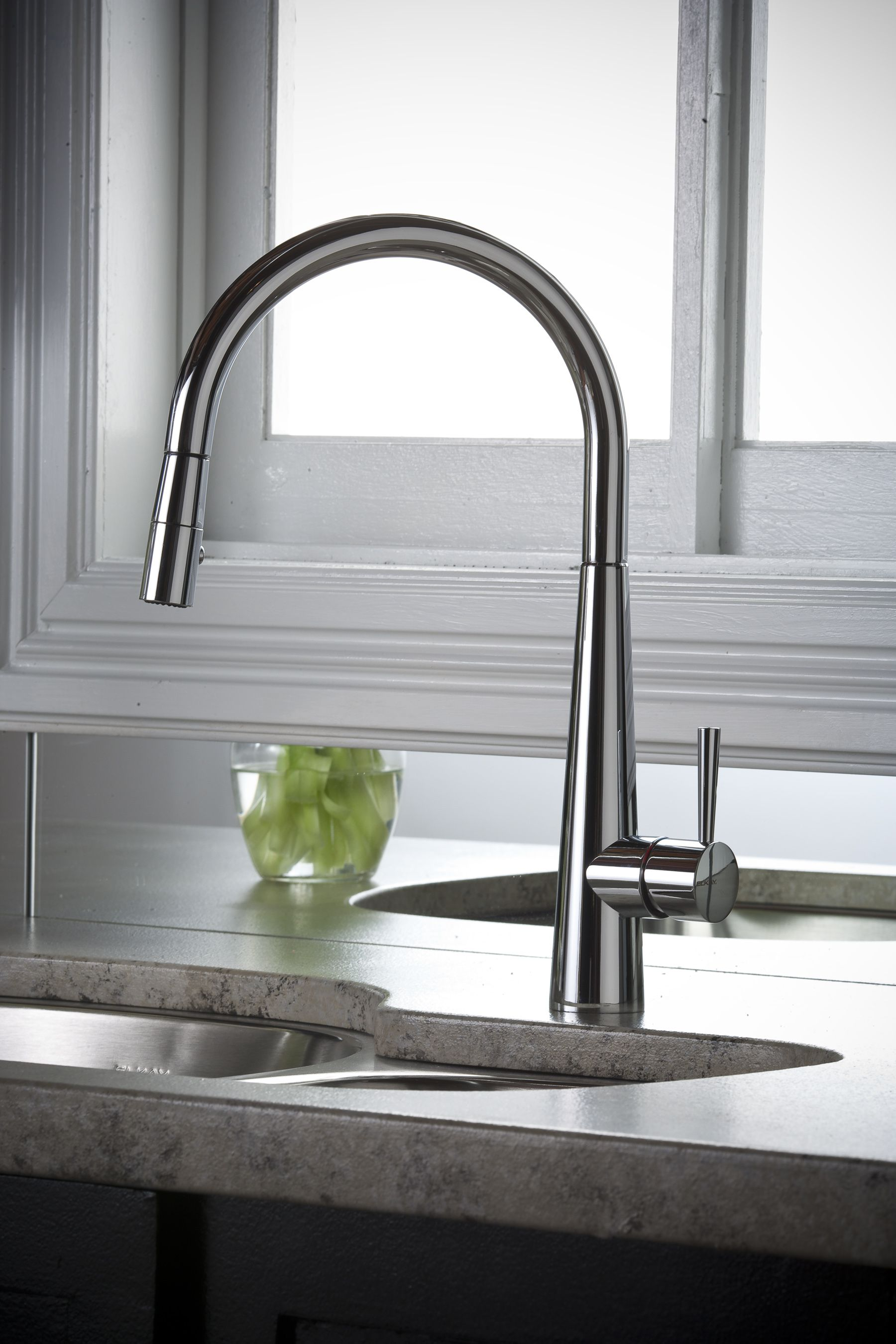 Harmony Single Hole Kitchen Faucet with Pull-down Spray and Lever ...