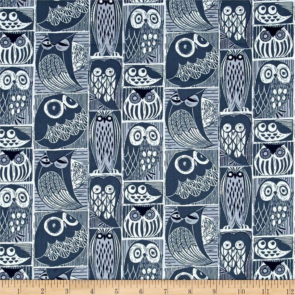 Dear stella blue moon owls orion from fabricdotcom from dear stella