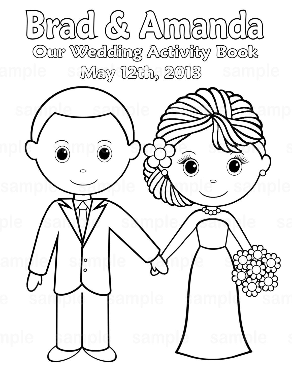 printable personalized wedding coloring activity book favor kids 85 x 11 pdf or jpeg template - Wedding Coloring Pages