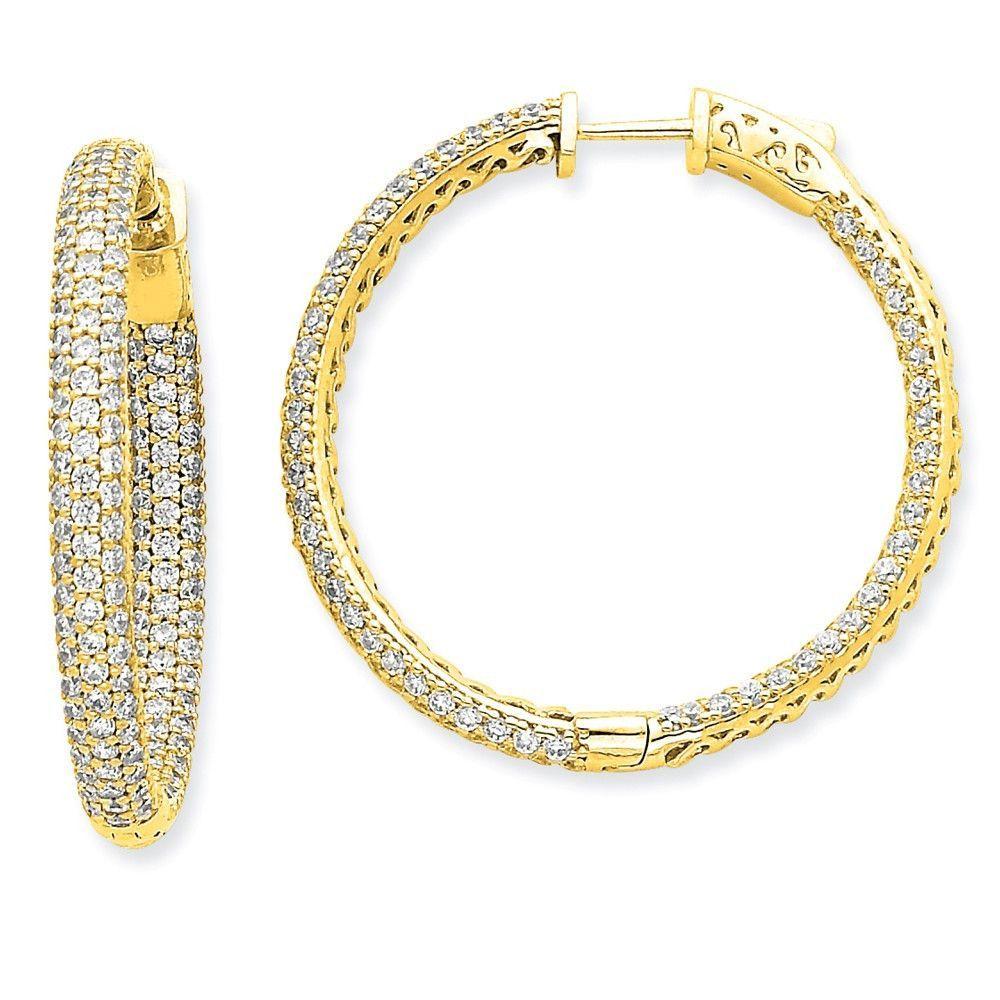 14k Diamond Round Hoop w/Safety Clasp Earrings