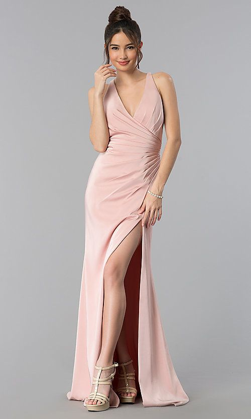 Long Open-Back V-Neck Prom Dress with Ruching   Formal ...