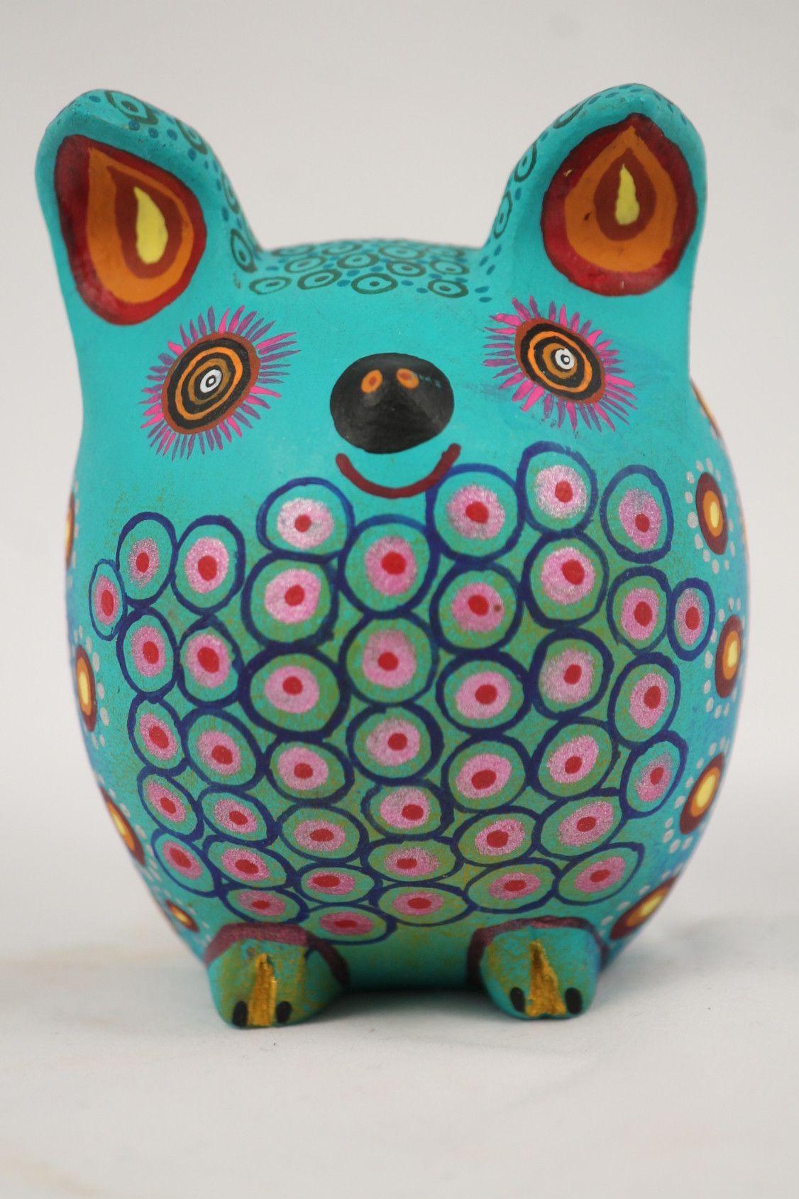 Mexican Oaxacan Wood Carving, Blue Mouse Alebrije Folk Art Jacobo ...