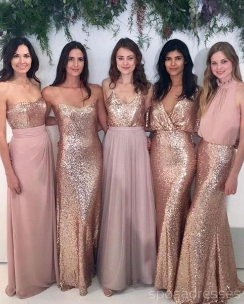 Custom Sparkly Mismatched Sequin Long Bridesmaid Dresses, Cheap Rose Gold Custom Long Bridesmaid Dresses, BD103 - Sequin bridesmaid dresses, Sequin bridesmaid, Long bridesmaid dresses, Affordable bridesmaid dresses, Bridesmaid, Bridesmaid gown - Custom Sparkly Mismatched Sequin Long Bridesmaid Dresses, Cheap Rose Gold Custom Long Bridesmaid Dresses, Affordable Bridesmaid Gowns, BD103 The Bridesmaid dresses are fully lined, 8 bones in the bodice, chest pad in the bust, lace up back or zipper back are all available, total 126 colors are available This dress coul