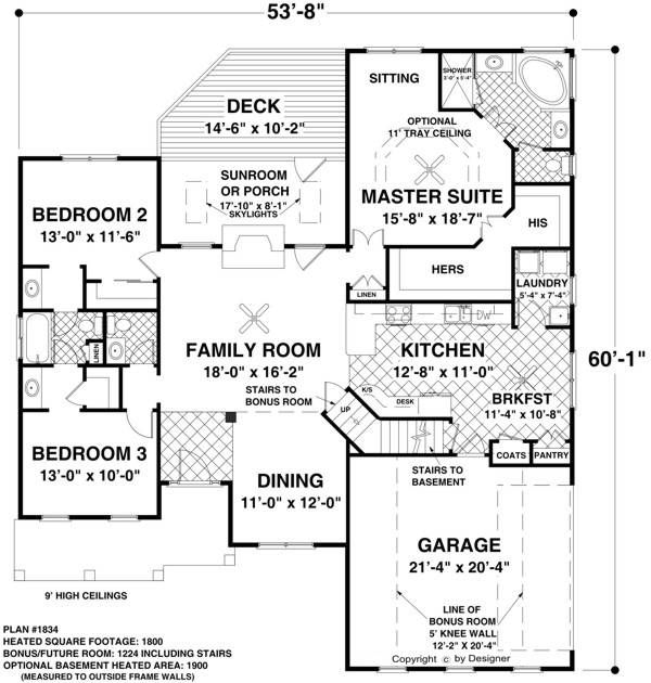 Plan 14632rk Rugged Craftsman With Room Over Garage: Main Level Floor Plan Image Of Featured House Plan: BHG