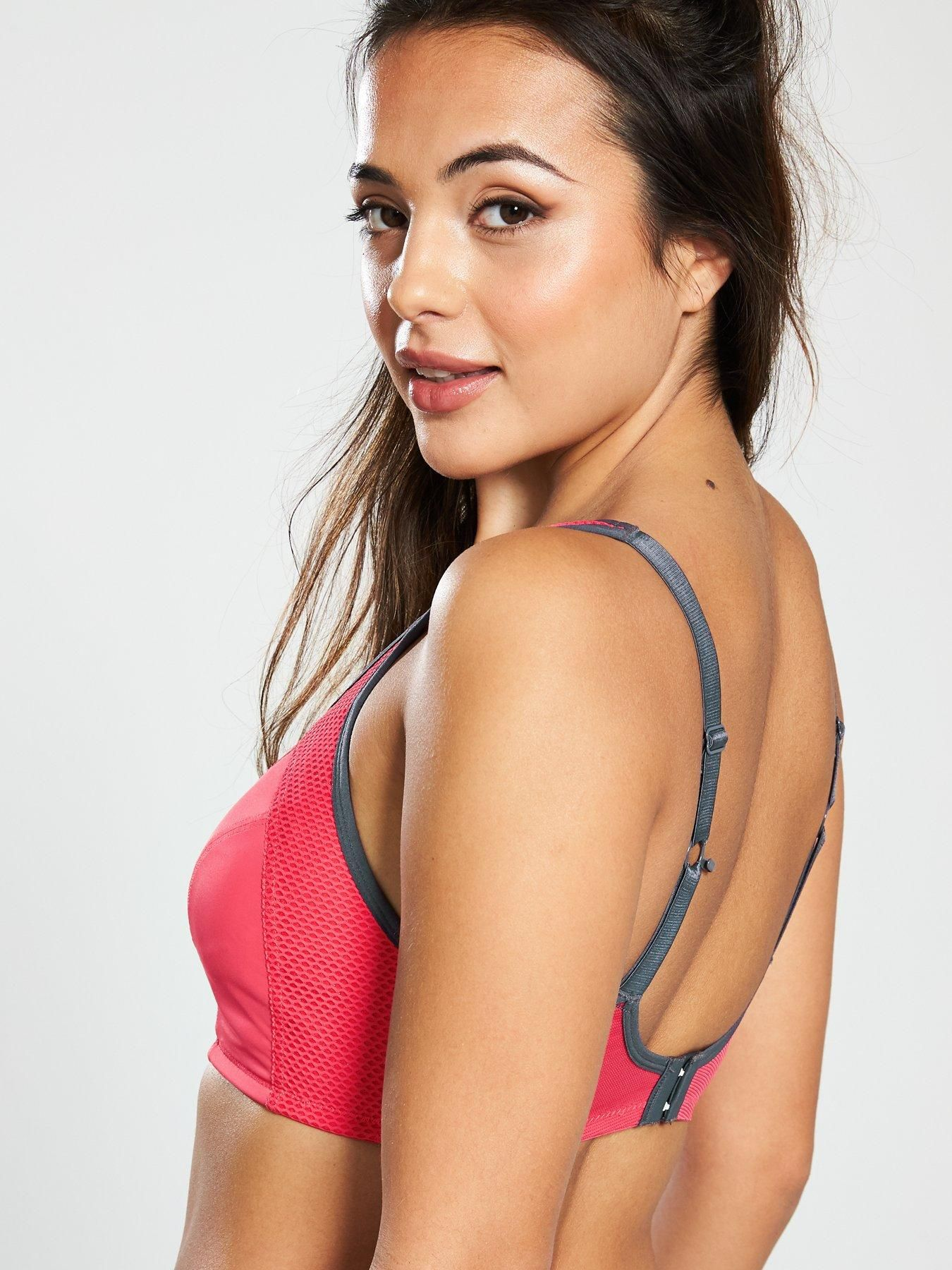 Pour Moi Engergy Non Wired Full Cup Sports Bra - Coral, Coral, Size 40, Women - Coral - 40 | Bra, Women, Sports bra sizing