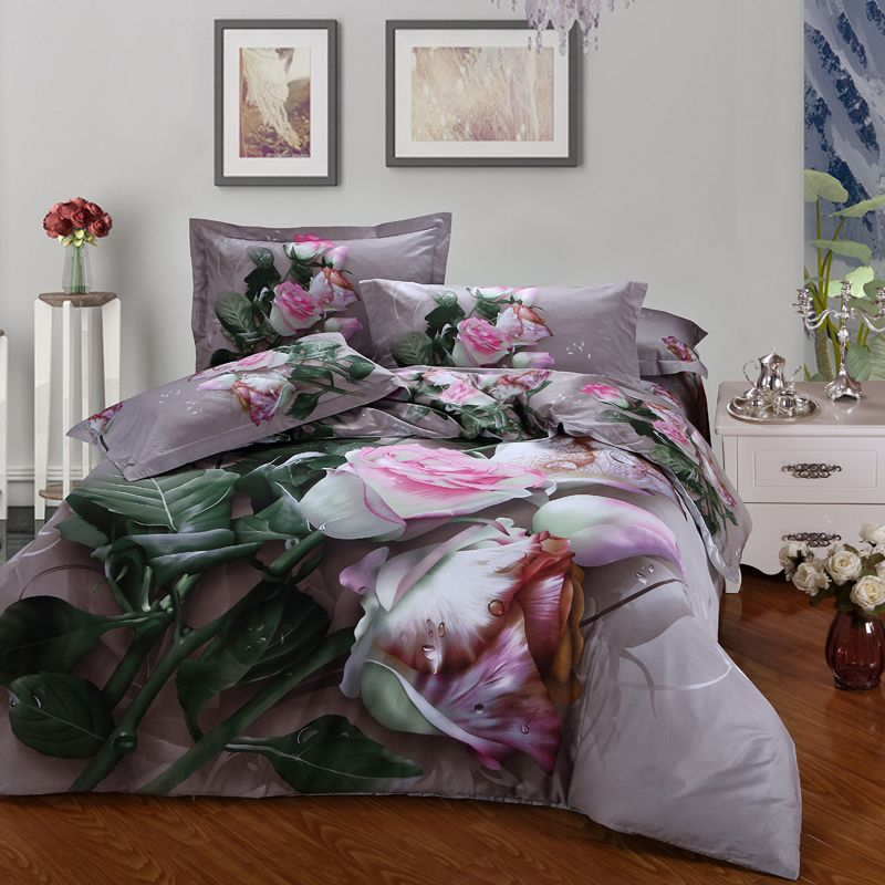 Pink white flowers 3d rose bedding set queen size duvet covers flat pink white flowers 3d rose bedding set queen size duvet covers flat bed sheets with pillowcase mightylinksfo