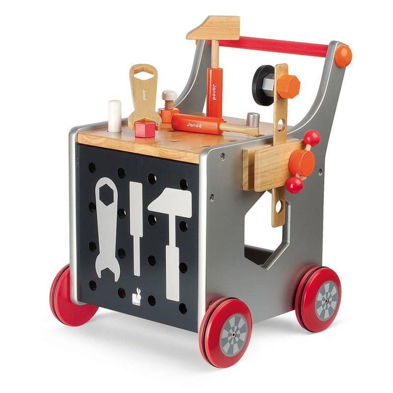Wooden Workbench And Trolley Walker By Toys Of Essence