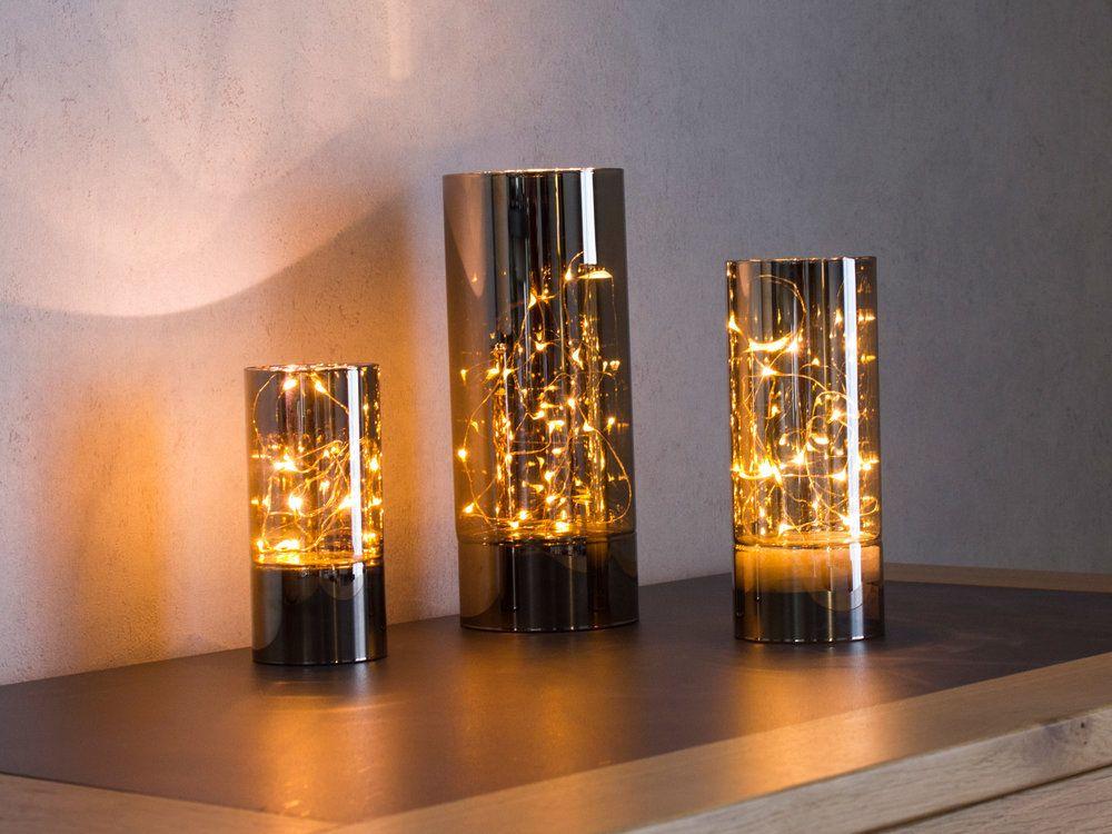 Lampe A Poser Cylindre En Verre Avec Guirlande Lumineuse Hauteur 25cm Vitroled Guirlande Lumineuse Lumineux Lampe