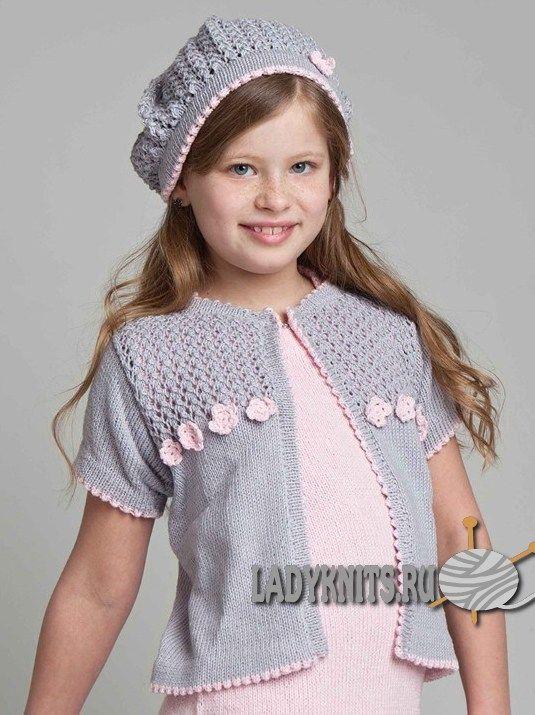 вязаный спицами летний жакет для девочки спицы вязание летний