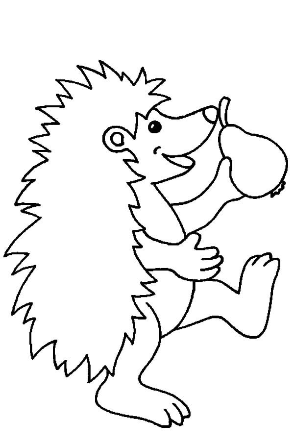Happy Hedgehog Holding A Pear Coloring Pages : Coloring