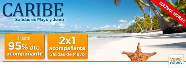 Os informamos de la mejora de la oferta de Verano para Caribe con salidas de última hora en Mayo y Junio en vuelo directo desde Madrid