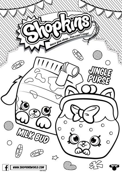 Shopkins Coloring Pages Season 4 Petkins Jingle Purse Milk Bud ...