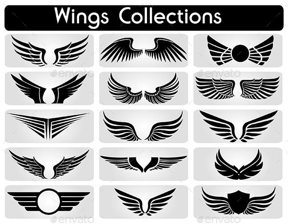 wings collection set wings wings icon wing tattoo designs pinterest