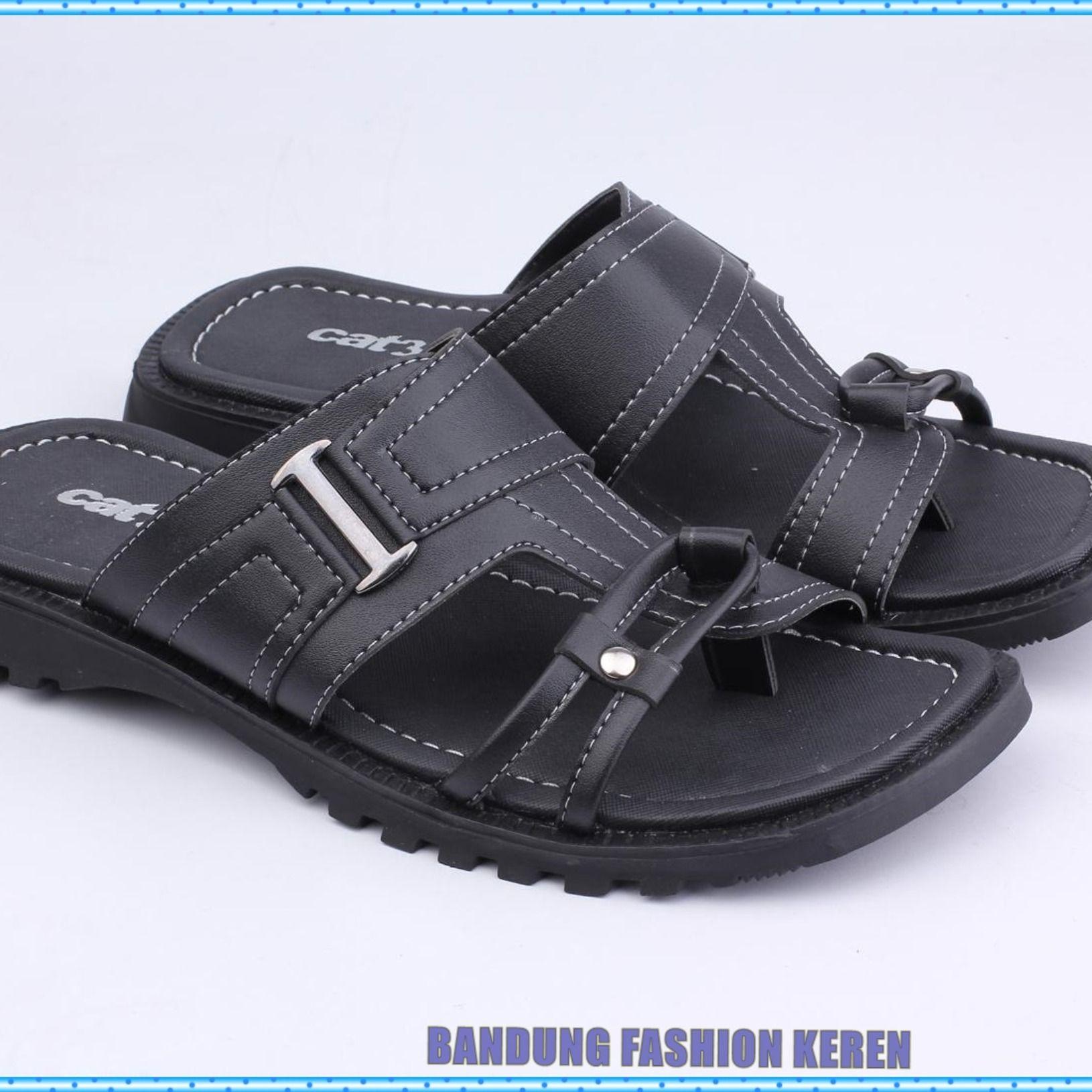 Penawaran Sepatu Sandal Pria Kulit Hitam Bustong Cowok Murah