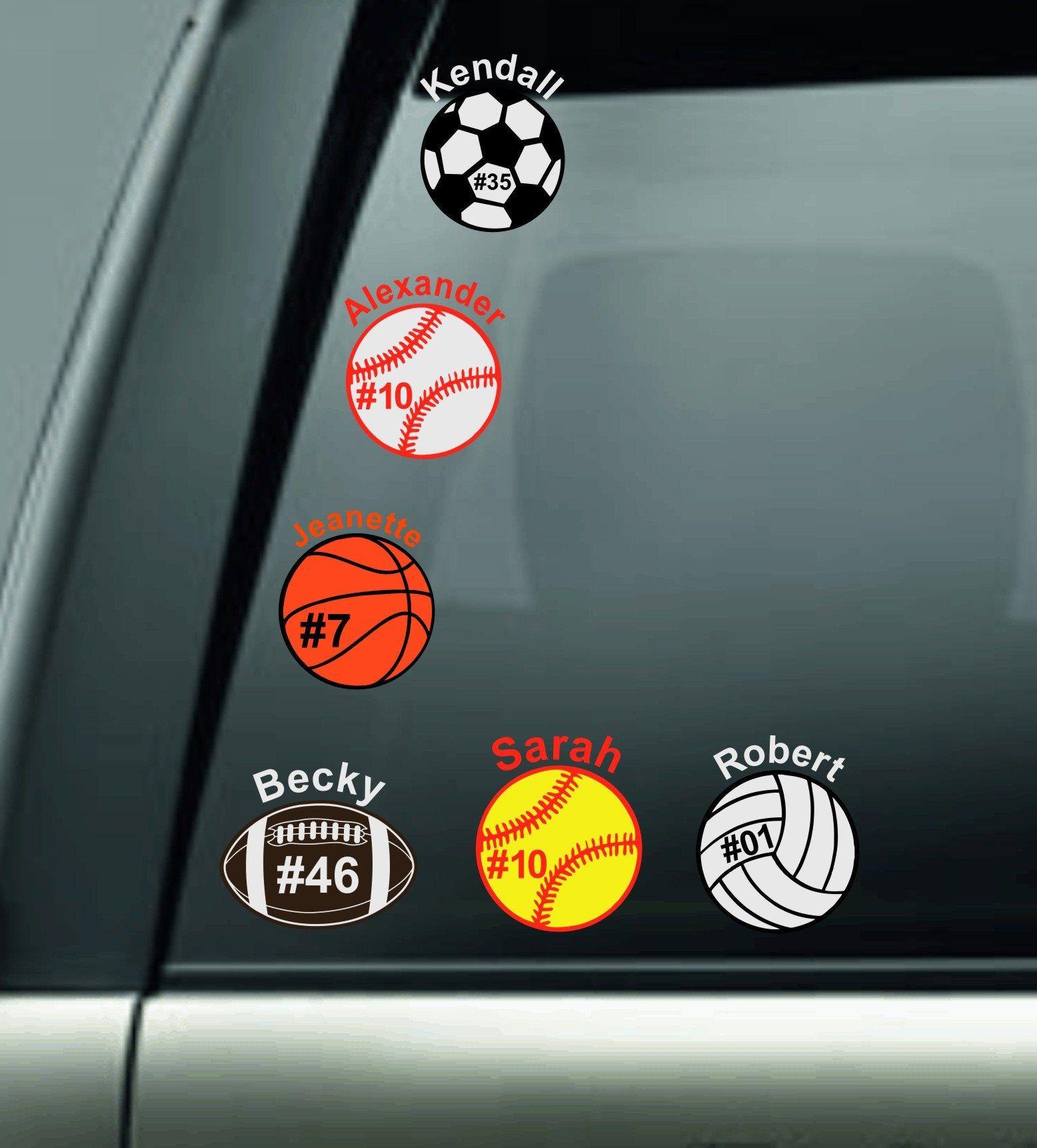 Personalized Vinyl Car Decal Baseball Softball Football Basketball Volleyball Soccer Tennis Decal Stic Car Decals Vinyl Soccer Vinyl Decal Car Decals Stickers [ 1722 x 1556 Pixel ]